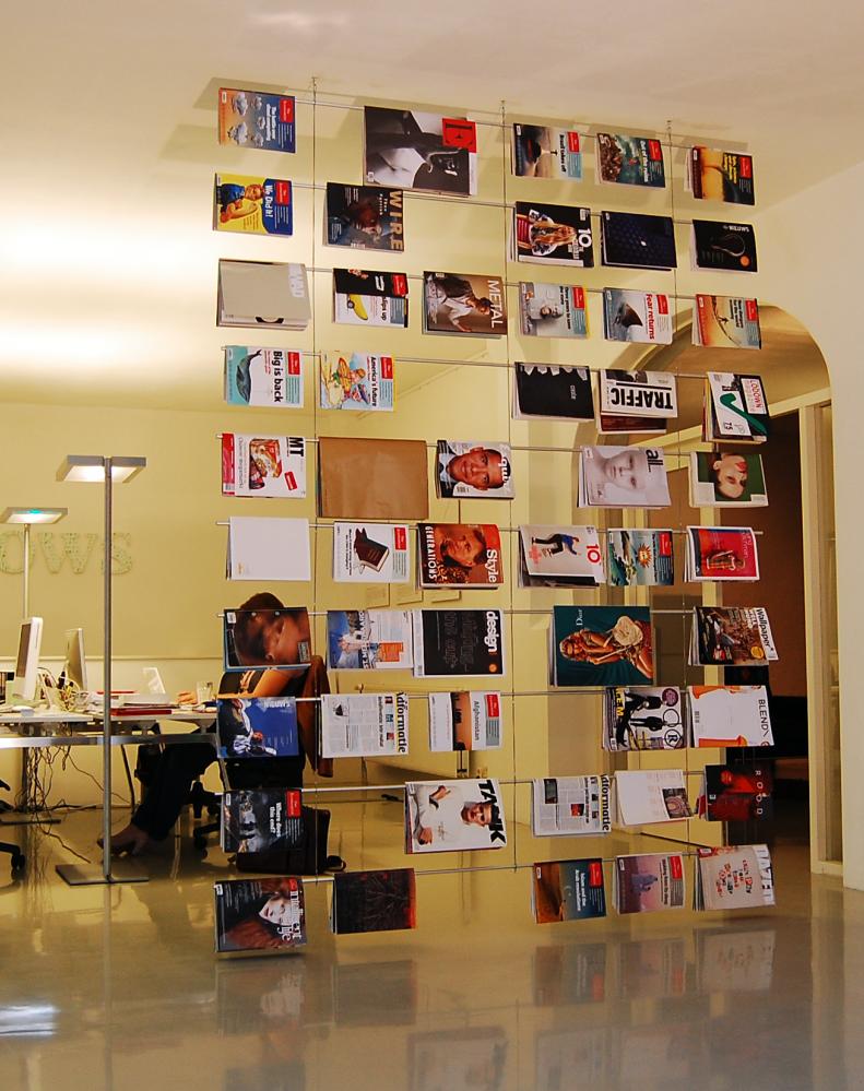 scheidingswand, tijdschriftenrek, hangend scherm, stijlvol, leestafel, wachtkamer